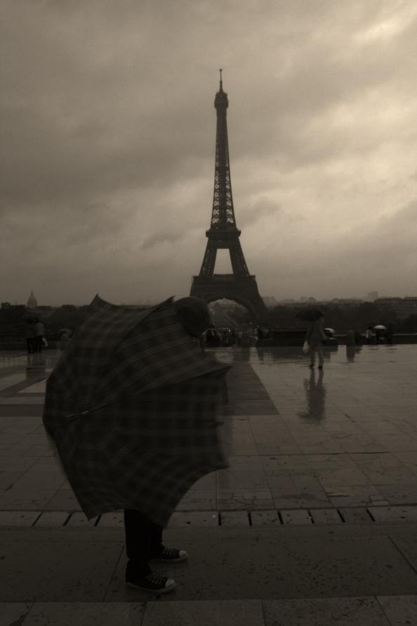 Raining at the Eiffel Tower